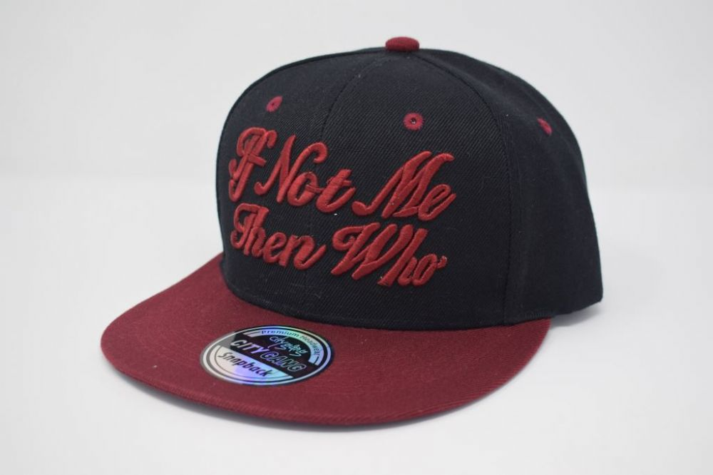 C4878, City Gang BLACK/BURGUNDY  Snapback Caps, one size fits all adjustable